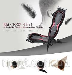 Беспроводная профессиональная машинка 4в1 для стрижки волос Kemei KM 1027 + ПОДАРОК