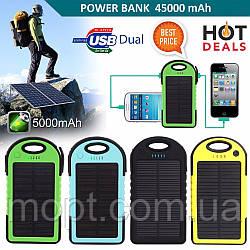 Power Bank Solar 10000 mAh на солнечной батареи, внешний Аккумулятор, батарея