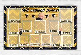 Плакат «12 місяців / месяцев» (Бос Молокосос / Босс (Укр) дизайн (золото/черный)120х75см
