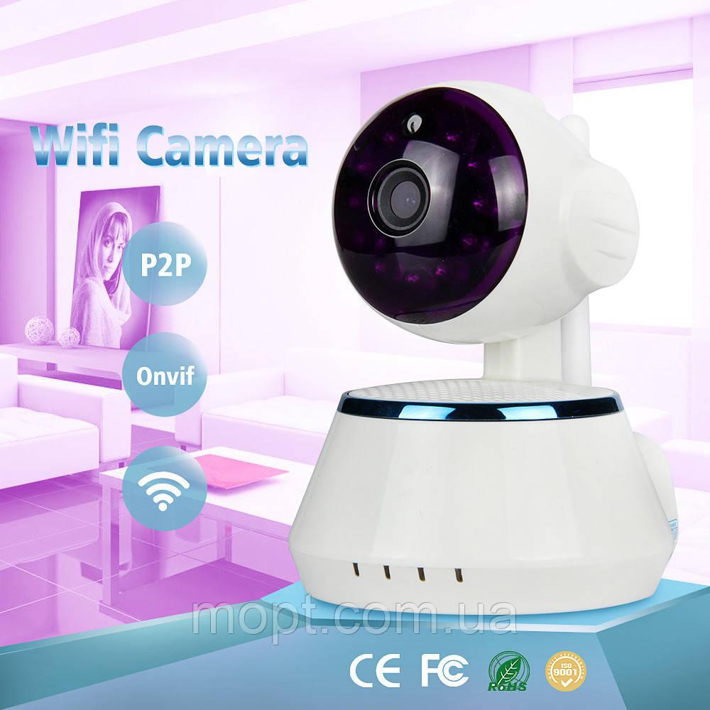 Беспроводная поворотная мини ONVIF Камера с ночной подсветкой + ПОДАРОК