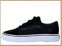 Кеды Vans Old Skool Black White (венс / ванс олд скул низкие, черные / белые) хлопок