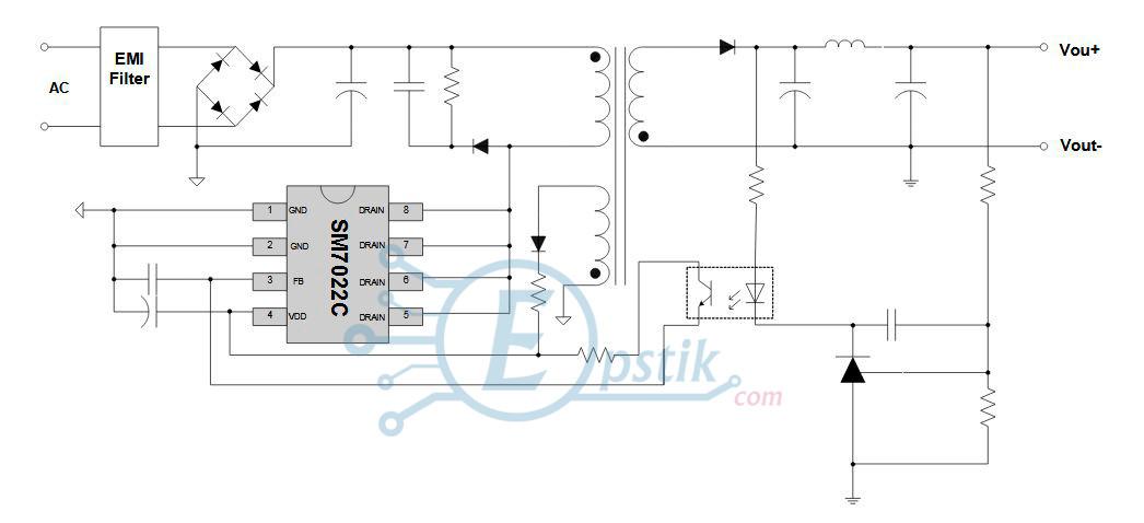 SM7022C, PWM контроллер питания, DIP8
