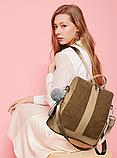 Рюкзак-сумка женский коричневый, фото 3