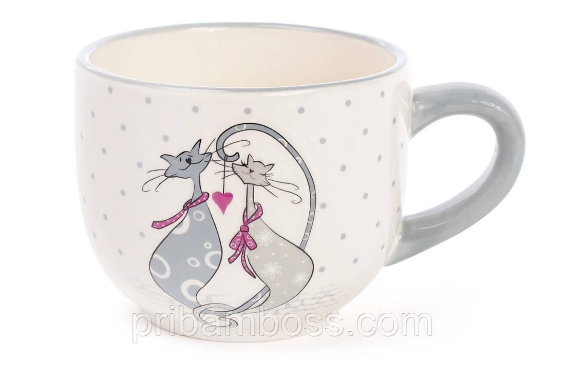 Кружка керамическая 500мл с объемным рисунком Влюбленные коты
