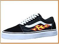 Кеды Vans Old Skool Black Red White (венс / ванс олд скул низкие, черные / белые с принтом) хлопок, замша