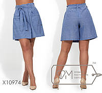 Модные женские шорты-юбка из льна батал  с 50 по 58 размер