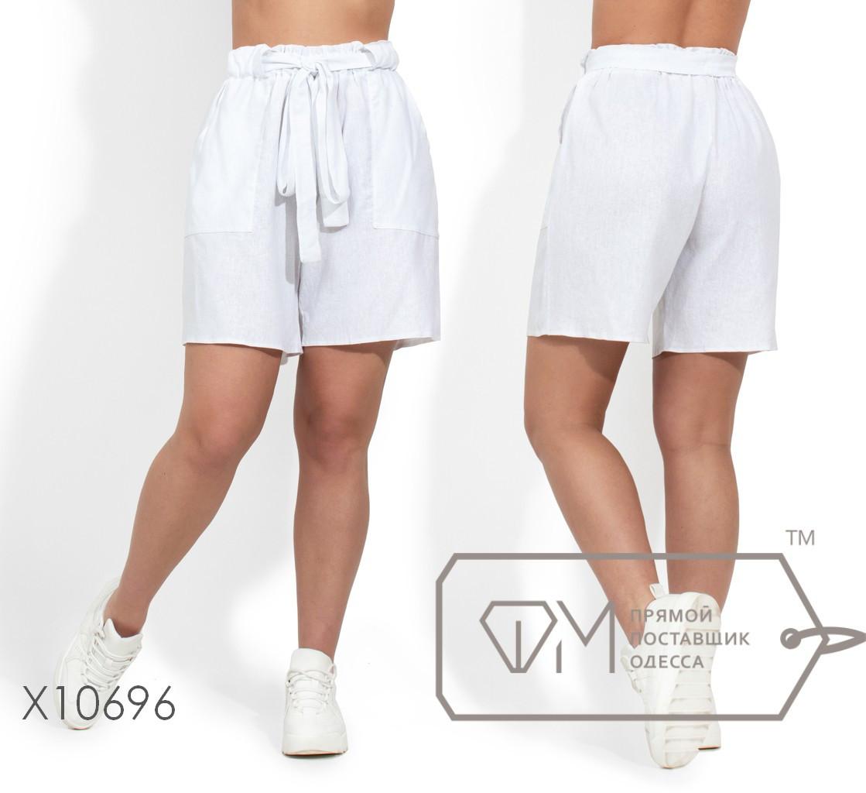 Модные молодёжные шорты из льна батал  с 48 по 54 размер