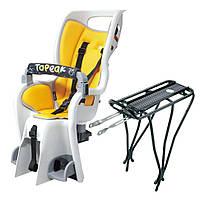 """Сидение детское Topeak Babyseat II (желтый, с багажником, 26"""", 27.5, 700C)"""
