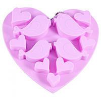 Форма силиконовая для льда/шоколада Fissman 15х14,5х1,5 см Птицы и сердечки 11 яч. 6546 F, фото 1