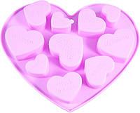 Форма силиконовая для льда/шоколада Fissman 17,8х14х1,5 см Сердечки 10 яч. 6562 F