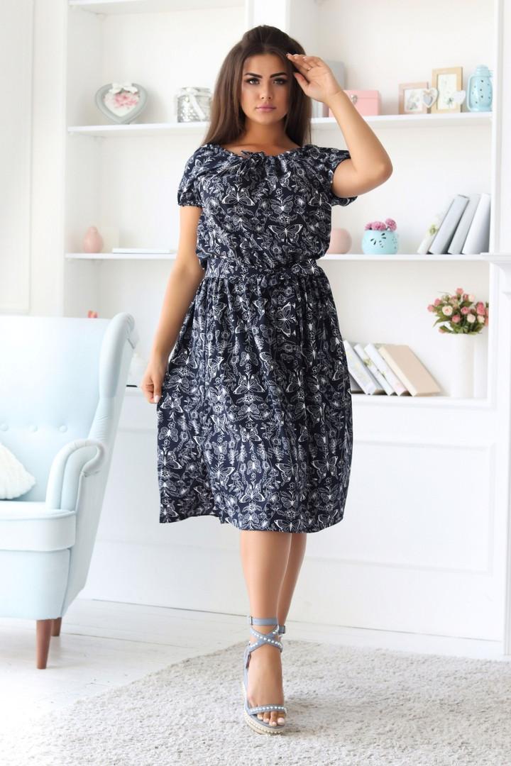 Платье женское длинное с резинкой на талии верх на кулиске (К28153)