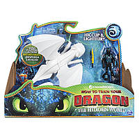 Дракон Дневная фурия и виккинг Иккинг в броне Dragons Lightfury Hiccup