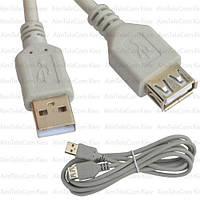 Удлинитель USB, штекер A - гнездо А, version 2.0, Ø4.5мм, 1м, серый