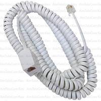 Телефонный удлинитель витой, штекер телефонный - гнездо телефонное, 6р4с, 6м, белый
