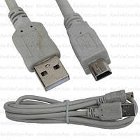 Шнур штекер USB А - штекер miniUSB 5pin v2.0, Ø3.5мм, 1.5м, серый