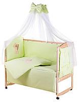 Детская постель Qvatro Gold AG-08 аппликация  салатовый (мишка стоит с сердцем), фото 1
