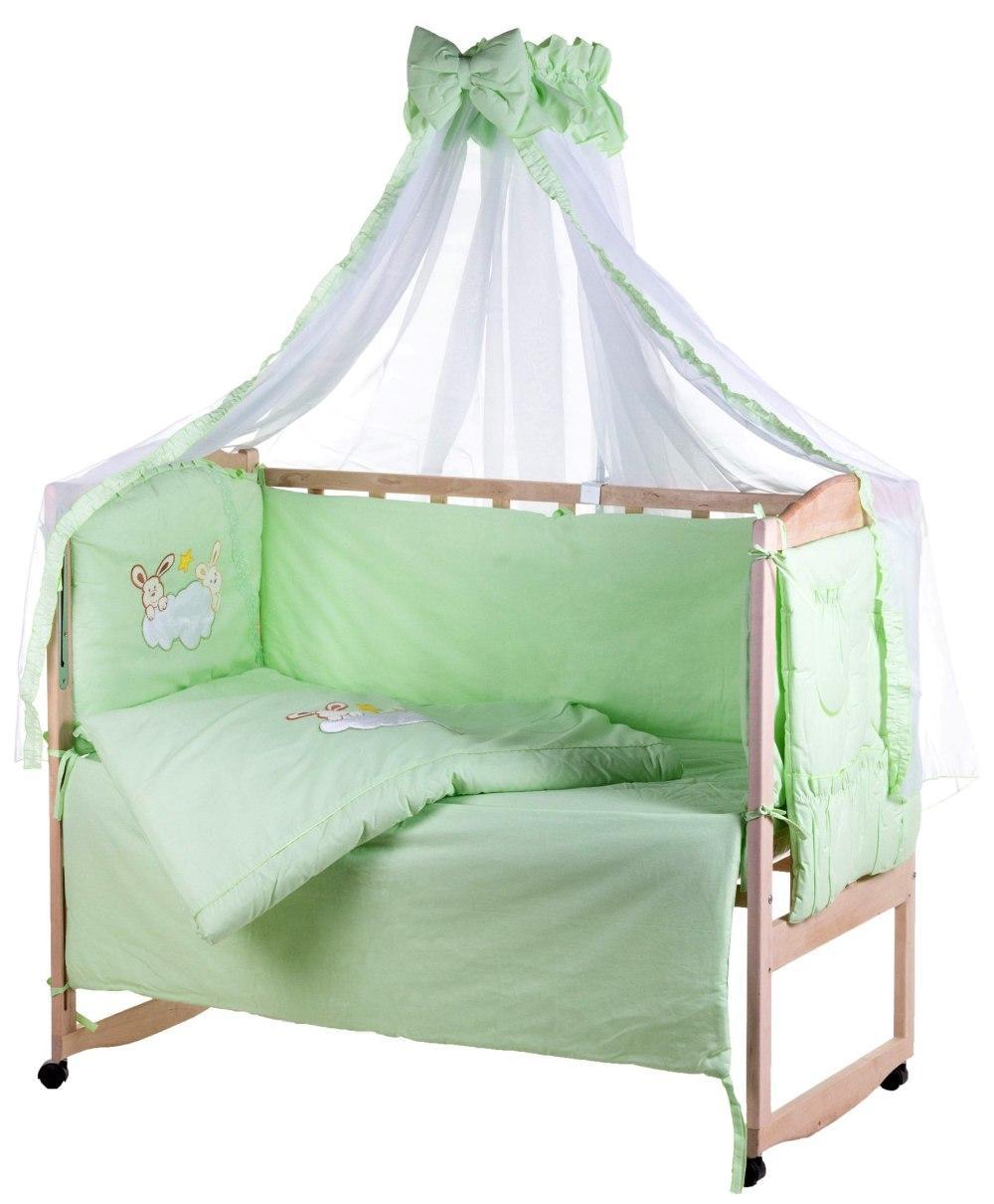Детская постель Qvatro Ellite AE-08 аппликация  салатовый (зайцы на облаке)