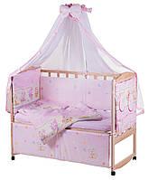 Детская постель Qvatro Lux  RL-08  розовая (мышки с сыром,слон,кот,собачки), фото 1