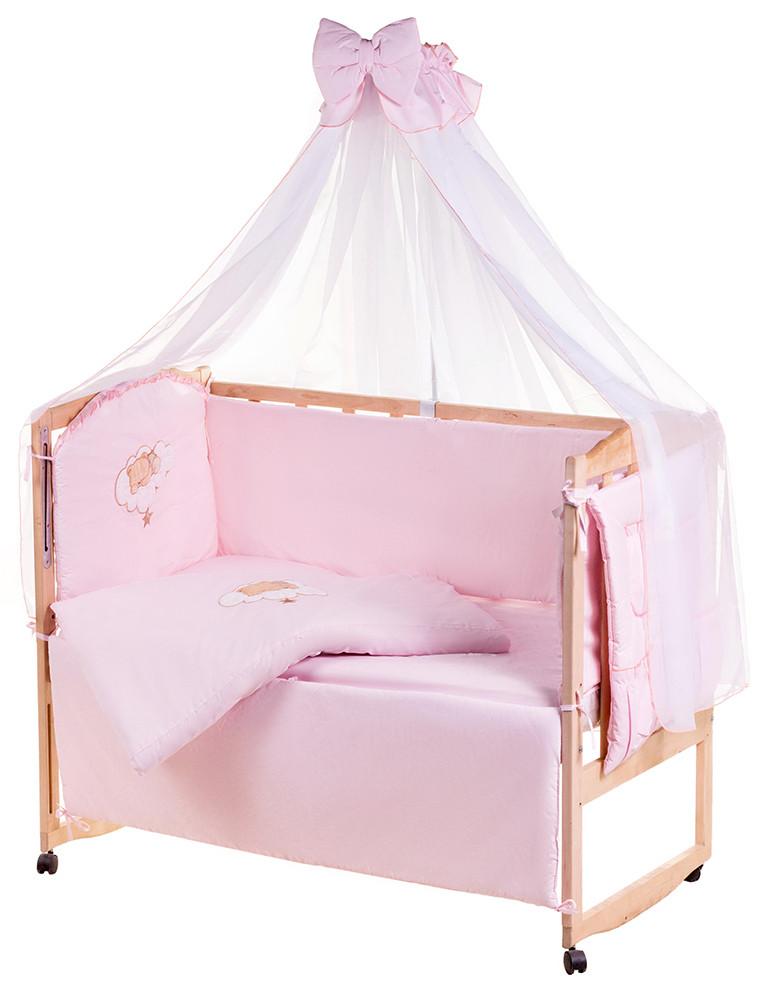 Детская постель Qvatro Ellite AE-08 аппликация  розовый (мишка спит на облаке)