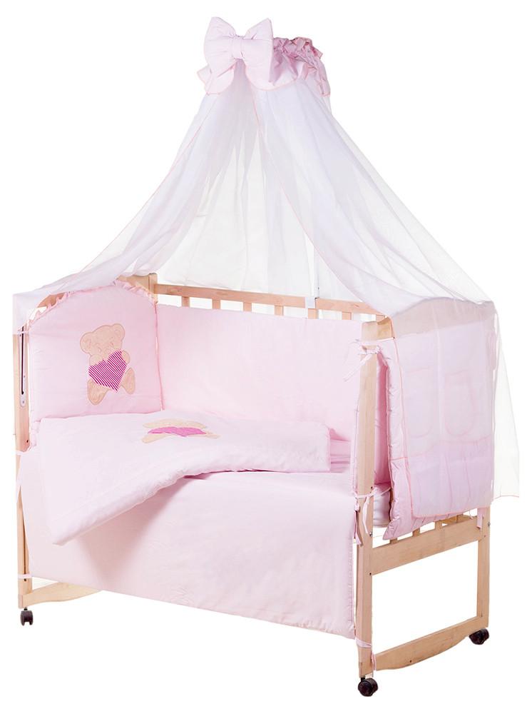 Детская постель Qvatro Ellite AE-08 аппликация  розовый (мишка сидит с розовым сердцем)