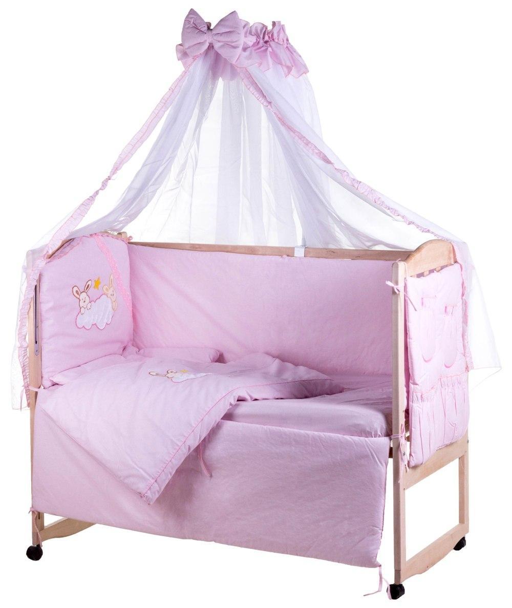 Детская постель Qvatro Ellite AE-08 аппликация  розовый (зайцы на облаке)