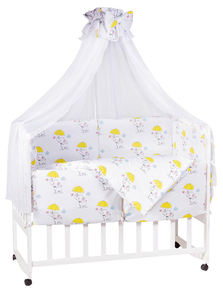 Детская постель Babyroom Comfort-08  белый (слоники с желтым зонтиком)