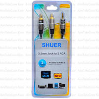 Шнур аудио-видео, штекер 3.5 стерео - 2 штекера RCA металл, Ø3.5х7мм, 1м, блистер