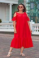 Платье летнее свободный крой красное Большого размера