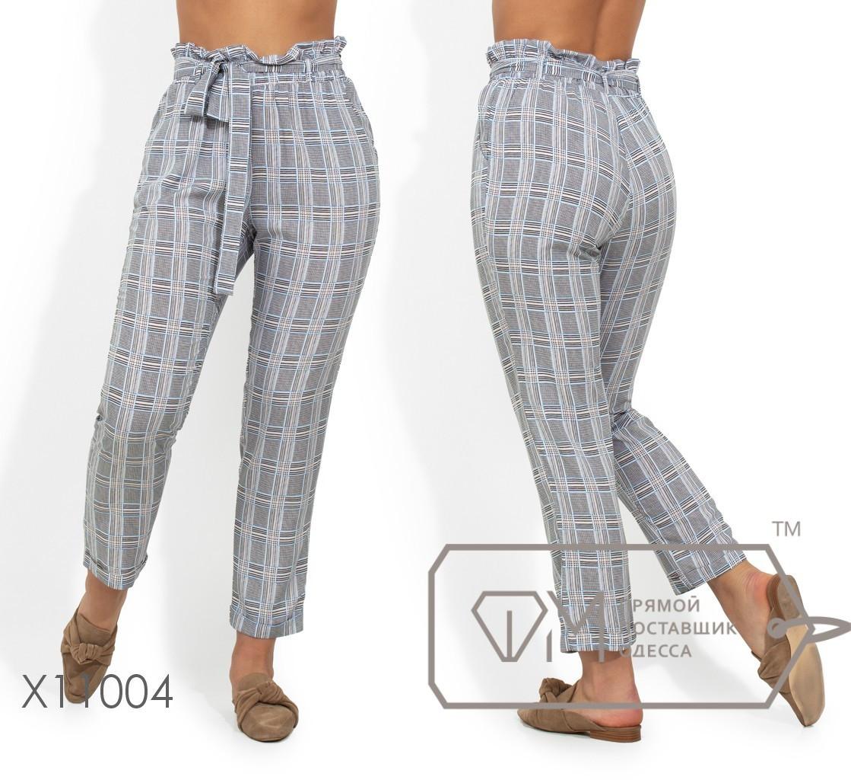 Удобные женские брюки из принтованного штапеля  с 48 по 56 размера