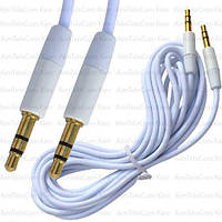 Шнур аудио AUX, штекер 3.5 стерео - штекер 3.5 стерео, gold, Ø3мм, 3м, белый