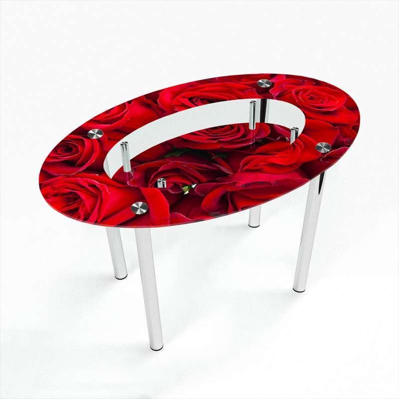 Обеденный стол стеклянный (фотопечать) Овальный с полкой Rose от БЦ-Стол