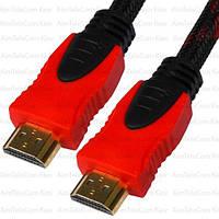 """Шнур HDMI, штекер - штекер, Vers-1.4, """"позолоченный"""", фильтр + сетка, 10м, красно-чёрный"""