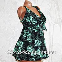 Большой 58 размер! Черный корректирующий купальник-платье для полных женщин, с зелеными листьями, новинка года