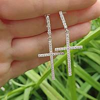 Серебряные серьги крестики.Арт 73308