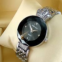 Элитные женские наручные часы Baosaili Royal с короной на металлическом браслете черный циферблат серебряного