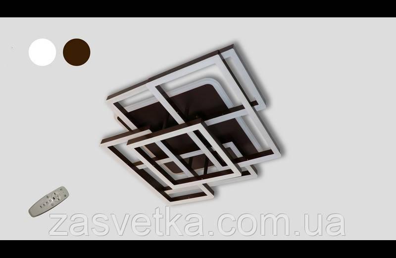 Современная светодиодная люстра  три режима и пультом  145 Ватт  11014-4-1 (коричневый,,белая)