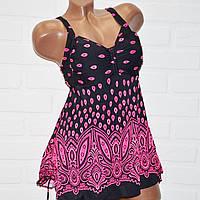Черный купальник платье 62 размер, розовые узоры, танкини большие размеры