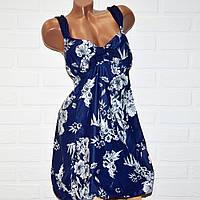 Синий купальник платье 66 размер, большой танкини для пышных дам