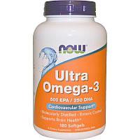 Ультра Омега 3, Now Foods, Ultra Omega-3, 500 EPA/250 DHA - Ultra Omega-3 180 капсул (180 порций)