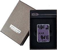 Электронная USB Зажигалка №310027 - фиолетовая с черным тиснением, мини-формат