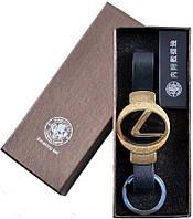 """Эффектная и стильная электронная USB Зажигалка-брелок """"Lexus"""" №310036 Gold"""
