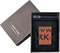 Электронная USB Зажигалка №310016 - рыжая, с имитацией кожи с тиснением