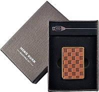 Электронная USB Зажигалка №310023 - имитация кожаного плетения, удобный карманный девайс