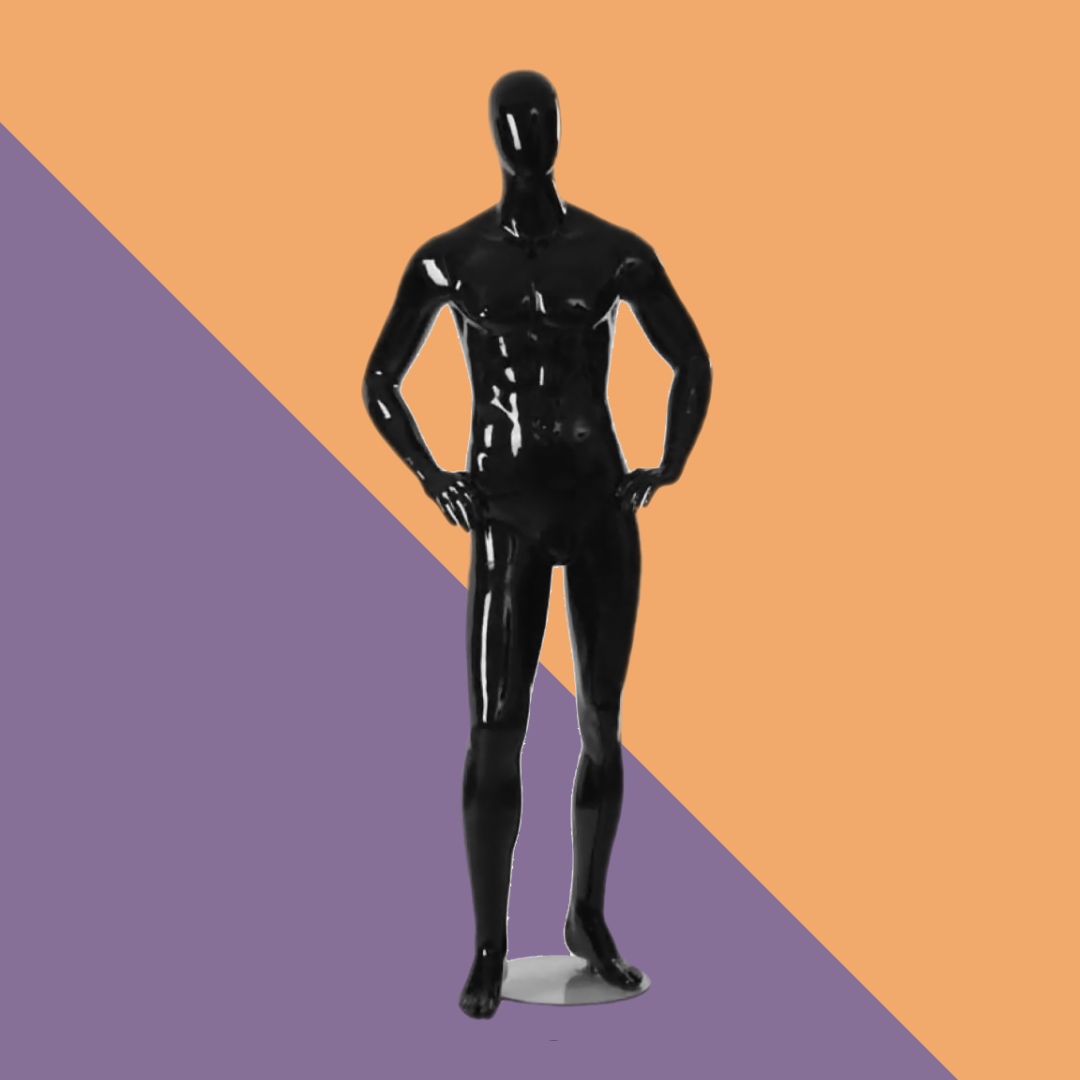 Мужской манекен черный глянцевый