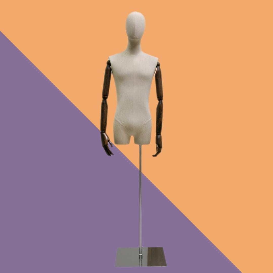 Манекен-торс берый мужской на подставке с деревянными руками на шарнирах