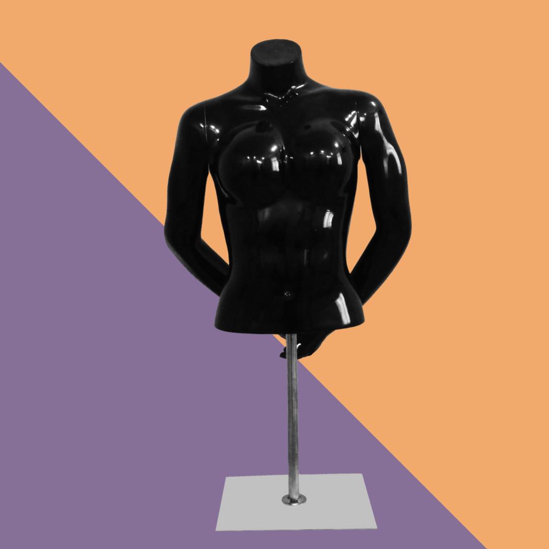 Торс-манекен женский без головы глянцевый черный на металлической подставке