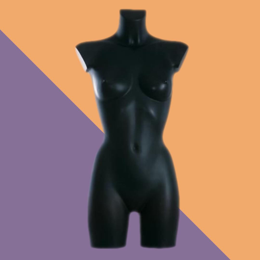 Торс-манекен женский без головы матовый черный без рук реалистичный
