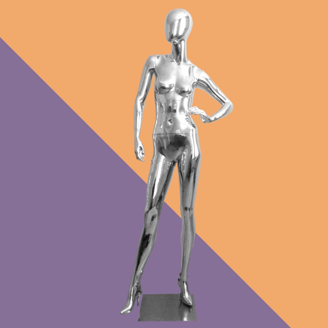 Женский манекен хромированный глянцевый