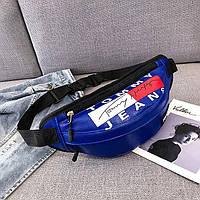 Женская поясная сумка на пояс из экокожи Tommy Jeans синяя, фото 1