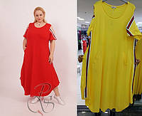Женское платье в спортивном стиле Darkwin  (Турция)  в 52 - 64рр ЖЕЛТЫЙ